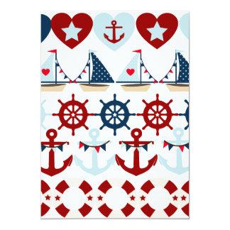 Summer Nautical Theme Anchors Sail Boats Helms 13 Cm X 18 Cm Invitation Card
