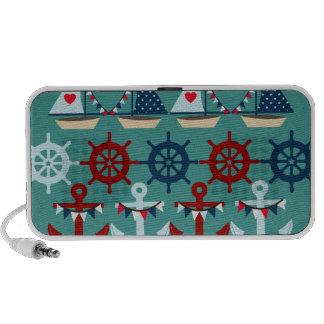 Summer Nautical Theme Anchors Sail Boats Helms Laptop Speaker