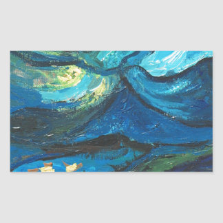 Summer Night (abstract expressionism landscape) Rectangular Sticker