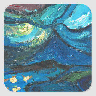 Summer Night abstract expressionism landscape Stickers