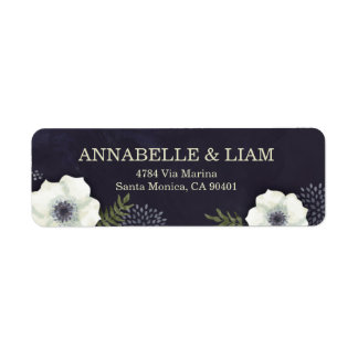 Summer Night Flowers Wedding Address Label