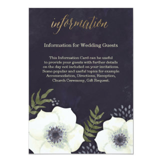 Summer Night Flowers Wedding Information Card