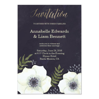 Summer Night Flowers Wedding Invitation