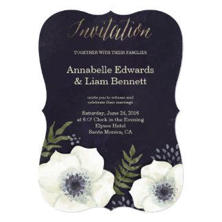 Summer Night Flowers Wedding Invitation shape