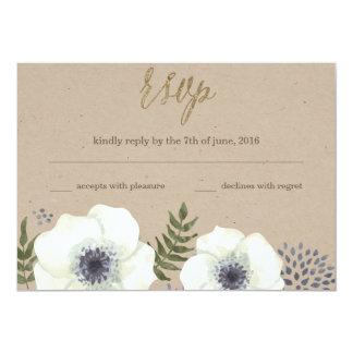 Summer Night Flowers Wedding RSVP Card 13 Cm X 18 Cm Invitation Card