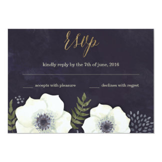 Summer Night Flowers Wedding RSVP Card navy 13 Cm X 18 Cm Invitation Card