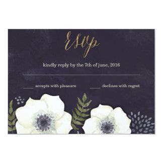 Summer Night Flowers Wedding RSVP Card navy 13 Cm X 18 Cm Invitation Card