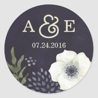 Summer Night Flowers Wedding Sticker