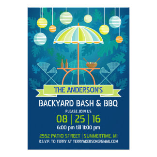 Summer Night Patio Party Invitation Personalized Announcements
