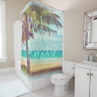 Summer Ocean Beach Palm Tree Watercolor Painting Shower Curtain