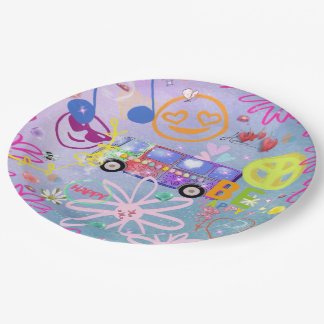 summer of love - the 60s paper plate