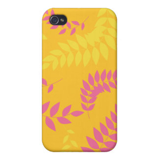 Summer Orange and Pink Ferns Pattern iPhone 4/4S Covers