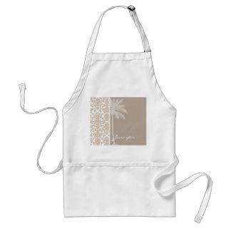 Summer Palm; Almond Color Damask Pattern Adult Apron