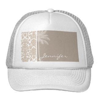 Summer Palm; Almond Color Damask Pattern Cap