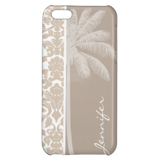 Summer Palm; Almond Color Damask Pattern iPhone 5C Cover