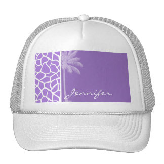 Summer Palm Amethyst Purple Giraffe Animal Print Trucker Hat