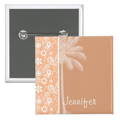 Summer Palm; Apricot Color Paisley; Floral Button