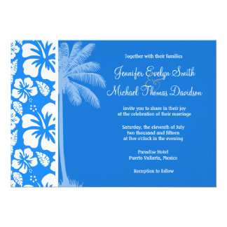 Summer Palm Azure Blue Tropical Hibiscus Custom Invitation