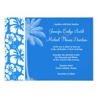 Summer Palm; Azure Blue Tropical Hibiscus Custom Invitation