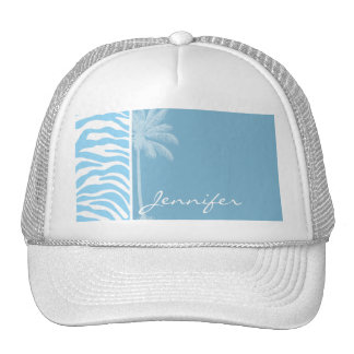 Summer Palm Baby Blue Zebra Animal Print Trucker Hat