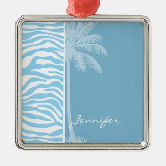 Summer Palm Baby Blue Zebra Animal Print Christmas Tree Ornament