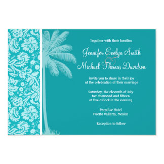 Summer Palm Blue-Green Damask Pattern 13 Cm X 18 Cm Invitation Card