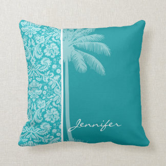 Summer Palm Blue-Green Damask Pattern Cushion