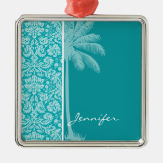 Summer Palm Blue-Green Damask Pattern Silver-Colored Square Decoration