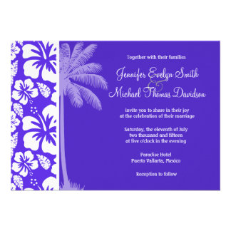 Summer Palm Blue Violet Tropical Hibiscus Personalized Invites