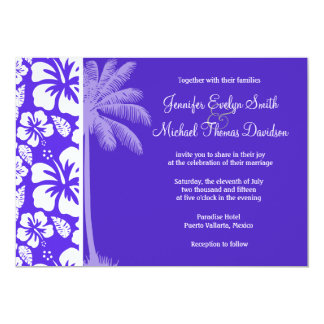 Summer Palm; Blue Violet Tropical Hibiscus Personalized Invites
