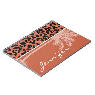 Summer Palm; Burnt Sienna Leopard Animal Print Spiral Notebook