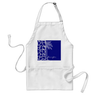 Summer Palm; Dark Blue Giraffe Print Standard Apron