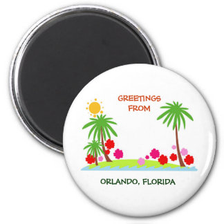 Summer--palm trees and sun, Greetings from Orlando 6 Cm Round Magnet
