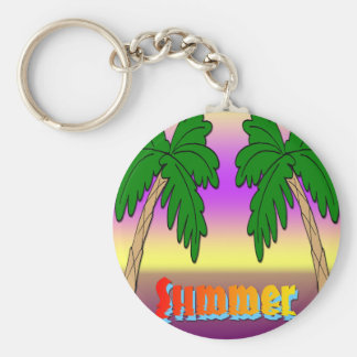 Summer Palm Trees Basic Round Button Key Ring