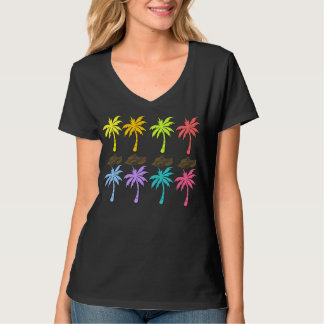 Summer Palm Trees Womans V-Neck Tee