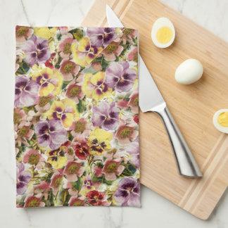 Summer pansies wildflower monogram tea towel