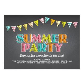 "Summer Party Chalkboard Fun in the Sun Invitation 5"" X 7"" Invitation Card"