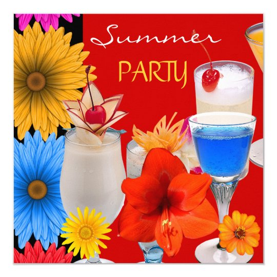 Summer Party Cocktails Drinks Red Blue Yellow Card