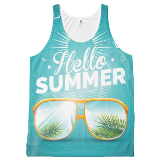 Summer Party design with speaker and sunglasses All-Over Print Singlet