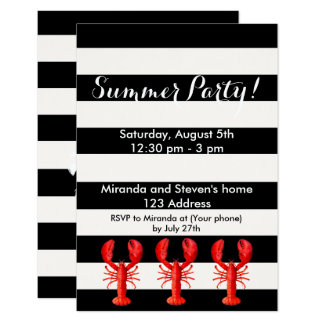 Summer party red lobsters on black white card