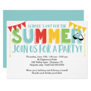 Summer Party School S Out Primary Colors Invitation