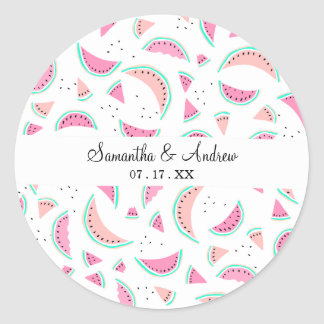 Summer pastel pink coral turquoise watermelons classic round sticker