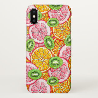 Summer pattern Orange grapefruit and kiwi fruit iPhone X Case