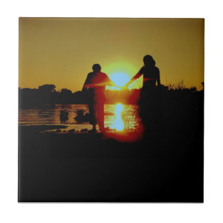 Summer peace small square tile
