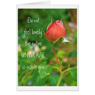 Summer Peach Rose Bud Rumi Quote Card