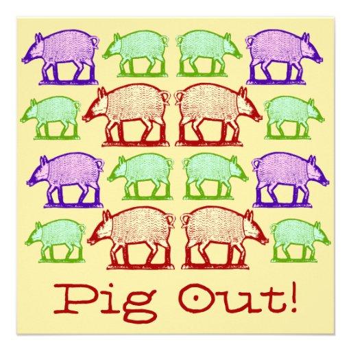 Summer Picnic Pig-Out Invitation - Folk Art Pigs