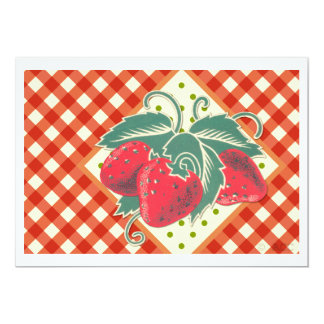 Summer Picnic Red White Checkered Tablecloth Card