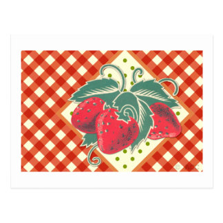Summer Picnic Red White Checkered Tablecloth Postcard