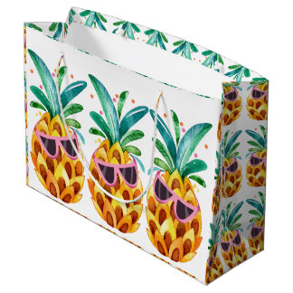 Summer Pineapple Watercolors illustration Large Gift Bag
