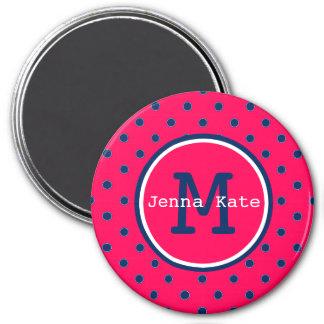 Summer Pink and Navy Blue Polka Dot Monogram Magnet